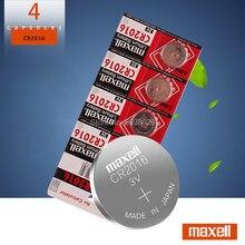 4pc para maxell qualidade cr2016 bateria de lítio 3v botão li-ion bateria relógio de pilha de moedas baterias cr 2016 dl2016 ecr2016 br2016
