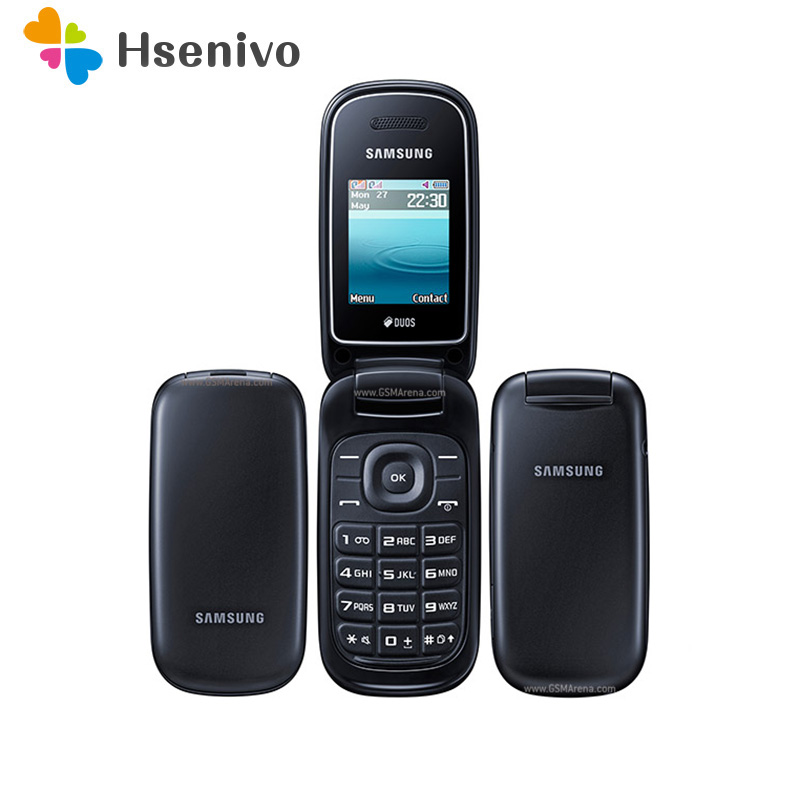 100% Original Unlocked Samsung Flip E1272 Phone Dual Sim Card GSM 2G Bluetooth FM Radio Mobile Phone Free Shipping