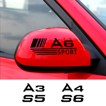 2 sztuk 14CM samochód lusterko wsteczne naklejka na Audi A3 8P 8V A4 B8 A6 C6 S1 S2 S3 S4 S5 S6 S7 S8 SQ5 SQ7 akcesoria samochodowe winylowa tablica naścienna