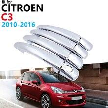 Роскошный хром Ручка крышки отделки комплект для Citroen C3 2010~ 2011 2012 2013 MK2 аксессуары наклейки для автомобиля VT VTR