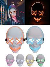 LED Glow Mask Ghost Head Horror Halloween Luminous Fluorescent Masks