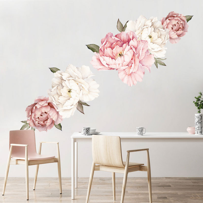 Watercolor Pink White Peony Rose Flowers Wall Stickers For Kids Room Living Room Bedroom Home Decoration Wall Decal Home Decor
