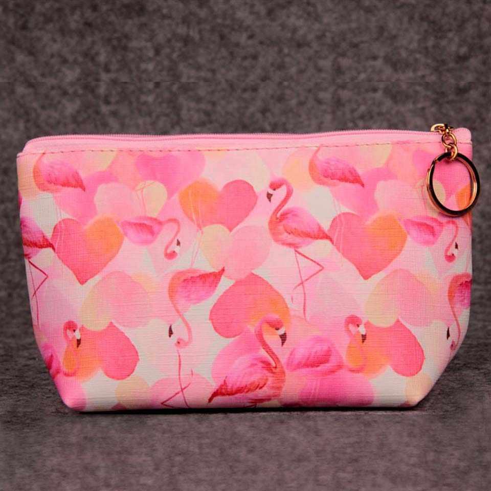 Portátil Dos Desenhos Animados Flamingo Maquiagem Sacos de Armazenamento Caso do Curso de maquiagem PU Bolsa Da Moeda Saco Cosmético Bonito Para As Mulheres saco de Lavagem de Higiene sacos