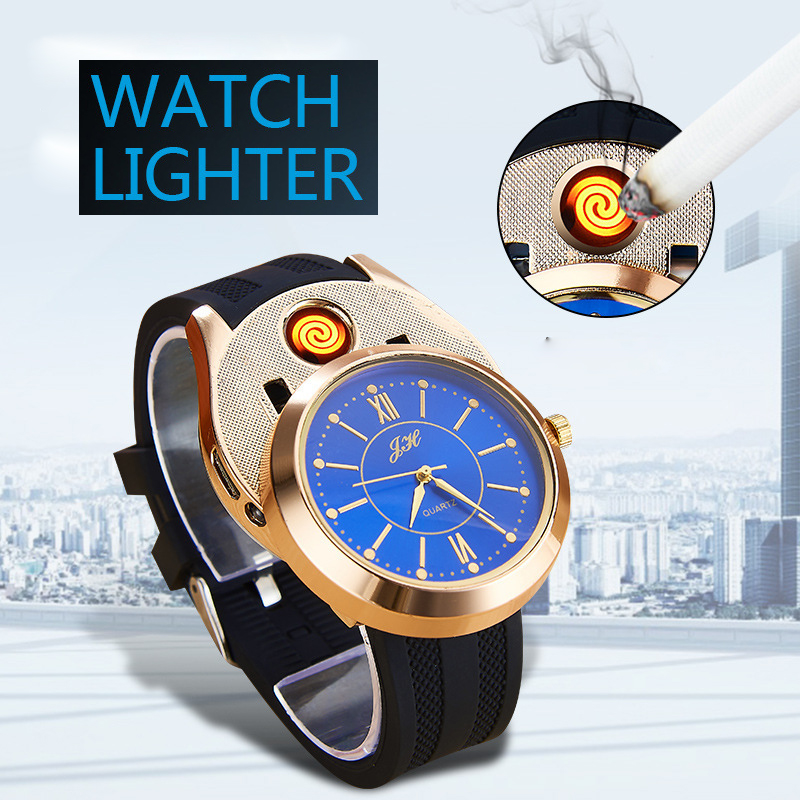 2020 Creative Multi-function Electronic Cigarette Lighter Men's Watch Windproof USB Charging Watch Lighter Silicone Date Clock