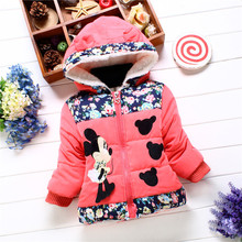 Baby Girls Cotton-padded Jacket Children Baby Cartoon Hooded Coat Stitching Cotton-padded Clothes Baby Girl Winter Coat