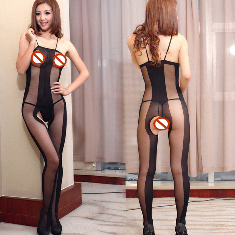 Hot Sell Fashion Babydoll Lingerie Bodystocking Bodysuits Sleepwear Black Sexy Fishnet Bodysuit Women's Pantyhose Open Crotch
