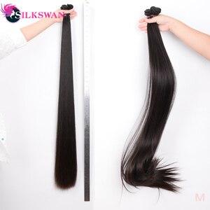 Image 3 - Silkswan extensiones de cabello humano liso con Frontal, 13x4, encaje marrón, Frontal, brasileño, Remy