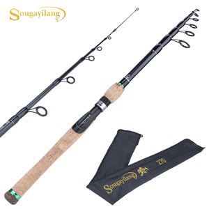 Image 1 - Sougayilang New Telescopic Lure Rod 1.8M 2.1M 2.4M 2.7M Carbon Fiber Cork Wood Handle Spinning Rod Fishing Pole Tackle