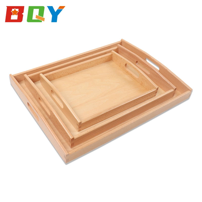 BQY Wooden Education Toys Montessori Materials Beech Wooden Tray With Handles Teaching Aids For Kids Baby