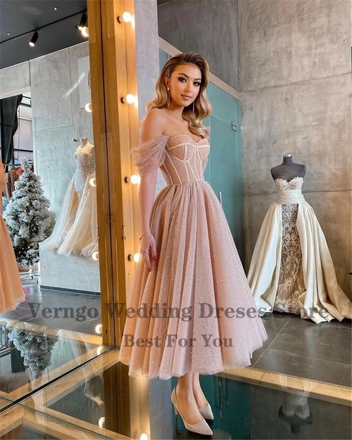 Verngo Dusty Pink Dotted Tulle Evening Party Dresses Off the Shoulder Corset Short Prom Dress Tea Length Midi Formal Wear Gown 3