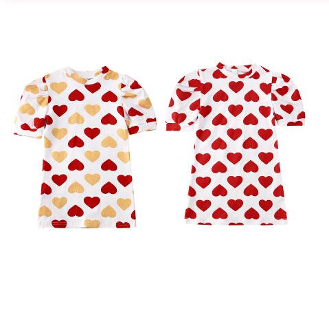 Valentine\'s Day Toddler Baby Girls Dress 1-6Y Ruffles Puff Sleeve Love Print Knee Length Straight Dress