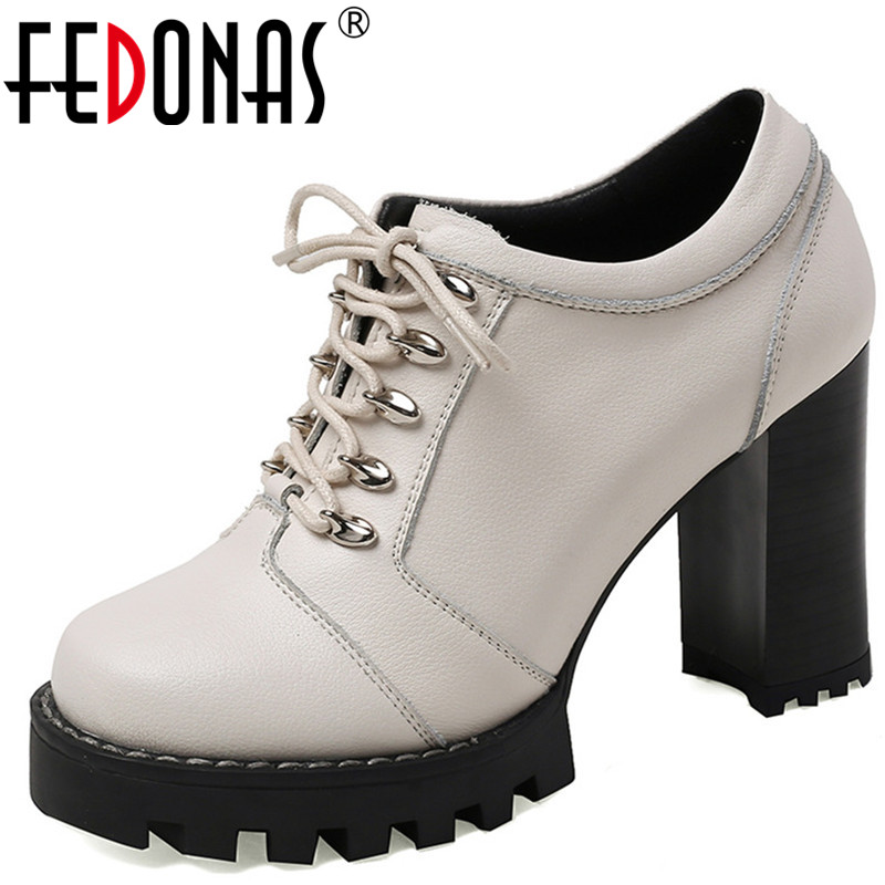 FEDONAS Women Pumps  Lace Up Cow Leather High Heels 2020 Fashion Brand Design Top Quality Basic Shoes Summer Shoes Woman