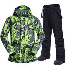 Mannen Skipak Winter Merken Hoge Kwaliteit Winddicht Waterdicht Warmte Sneeuw Jassen En Broek Mannen Skiën En Snowboarden Suits