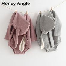 Honey Angle Spring Autumn Baby Rompers Long Sleeve Rabbit Ear Girl Boy Climbing Clothes Casual Cotton Infant Jumpsuit 6M-3T(China)