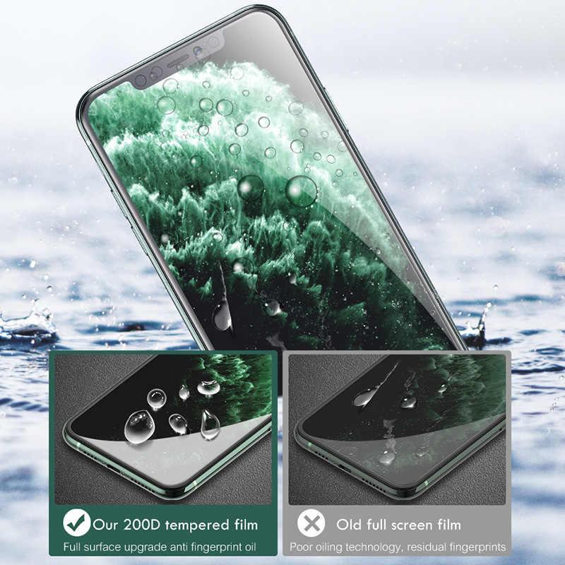 200D Melengkung Penuh Cover Pelindung Kaca Di UNTUK iPhone SE 11 Pro Max X Xs Pelindung Layar Anti Gores iPhone XR 8 7 Plus Kaca