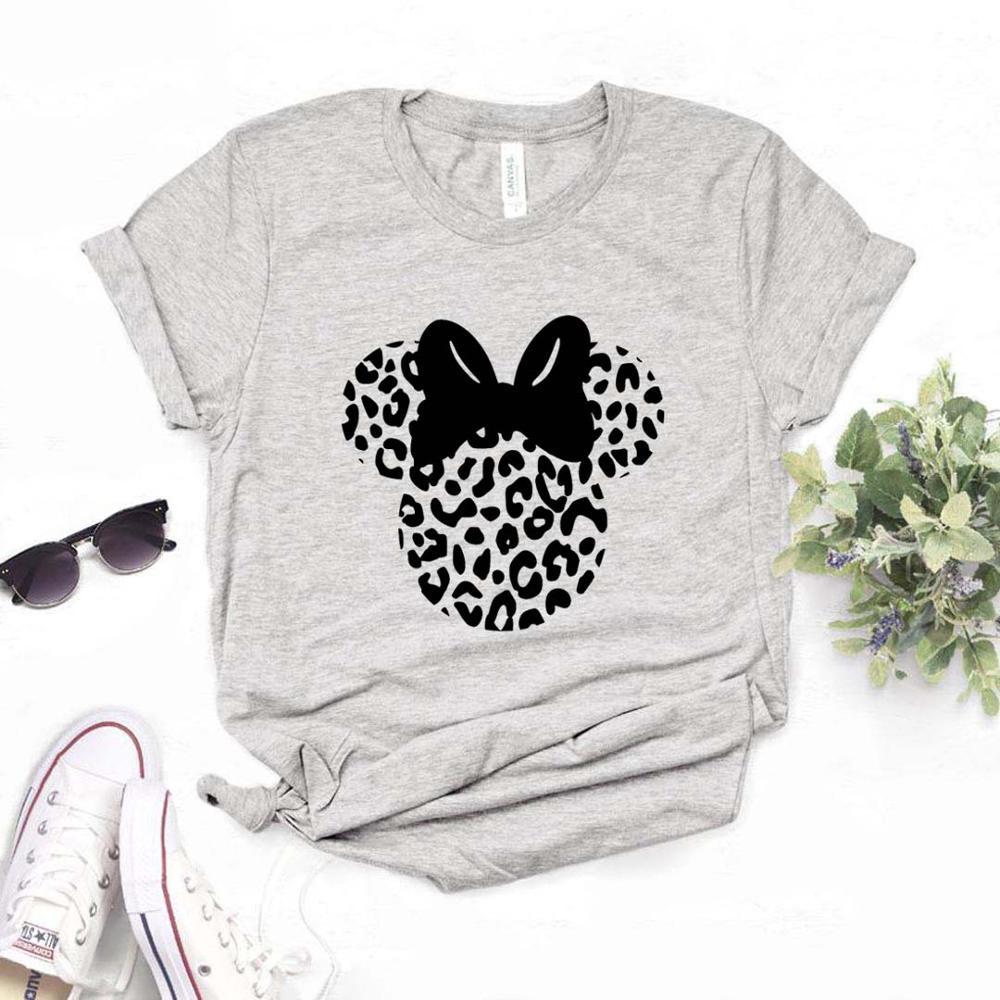 Женская футболка с леопардовым принтом в виде головы мышки, хлопковая Повседневная забавная футболка для женщин, хипстерская футболка, 6 цветов, Прямая поставка, FH 1|Футболки|   | АлиЭкспресс