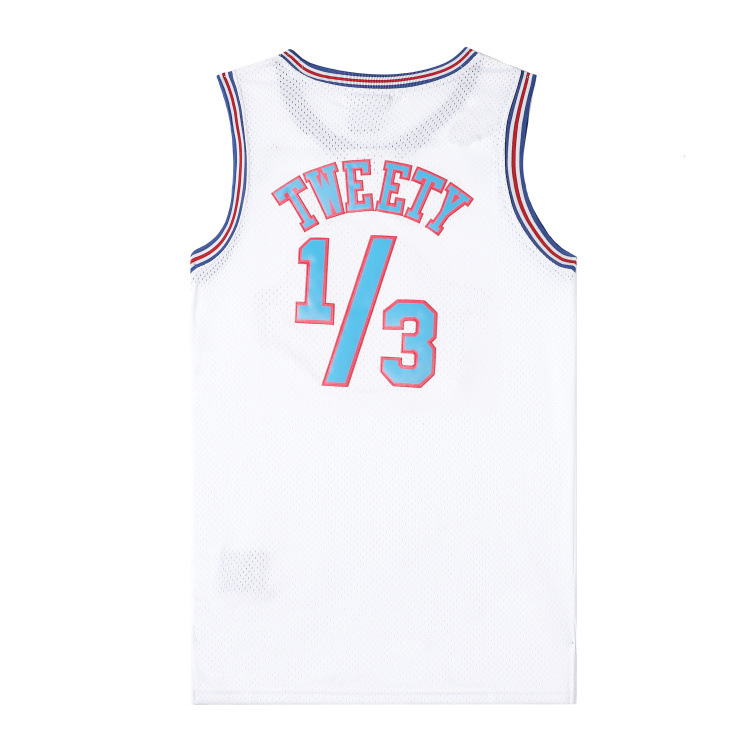 Classic Space Jam Film Cosplay Costume Version Embroidered Jersey Basketball Wear White Black No. 34 Jersey