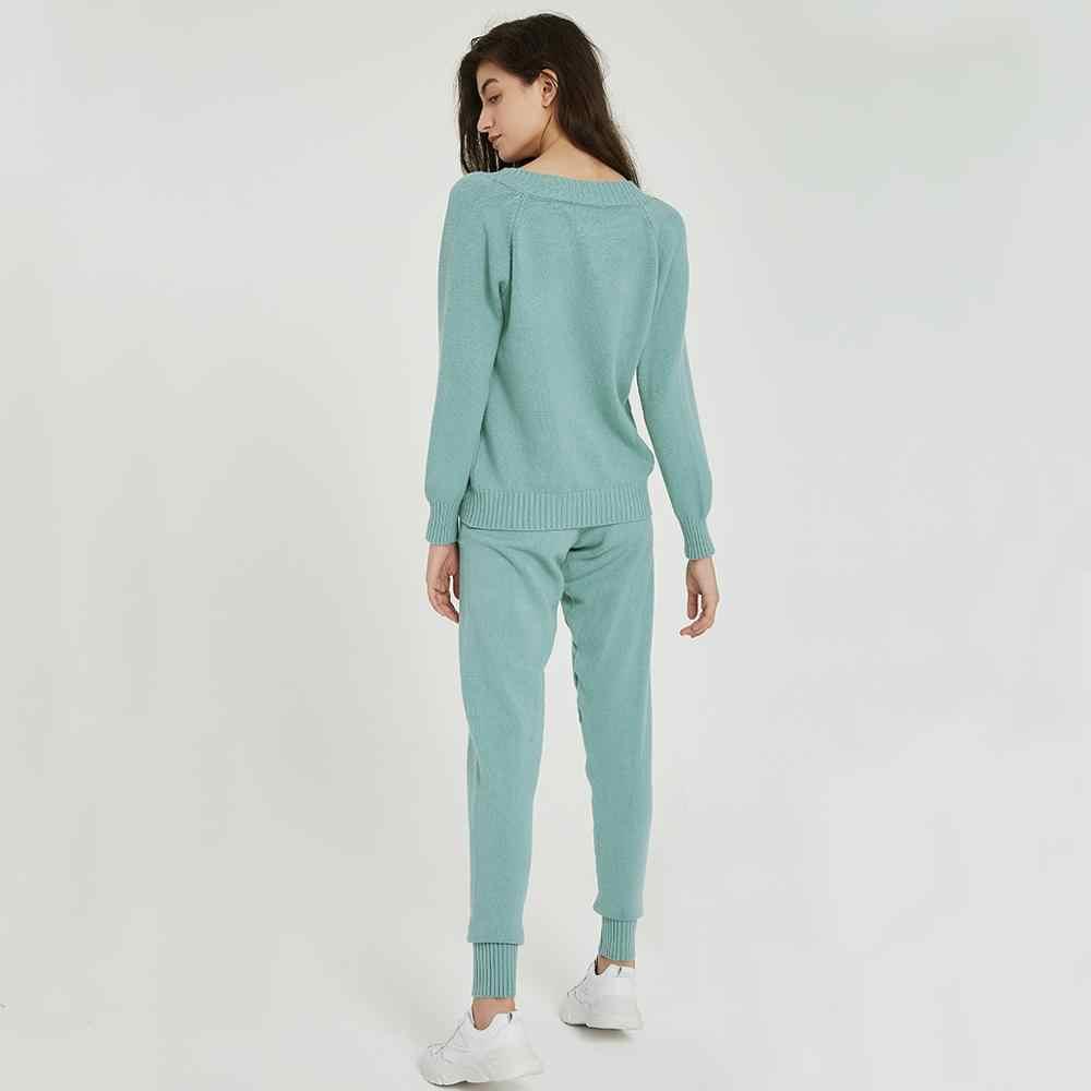 Wixra pull costume et ensembles décontracté col en V chandails hauts + poches pantalons longs solide deux pièces ensembles 2019 automne hiver