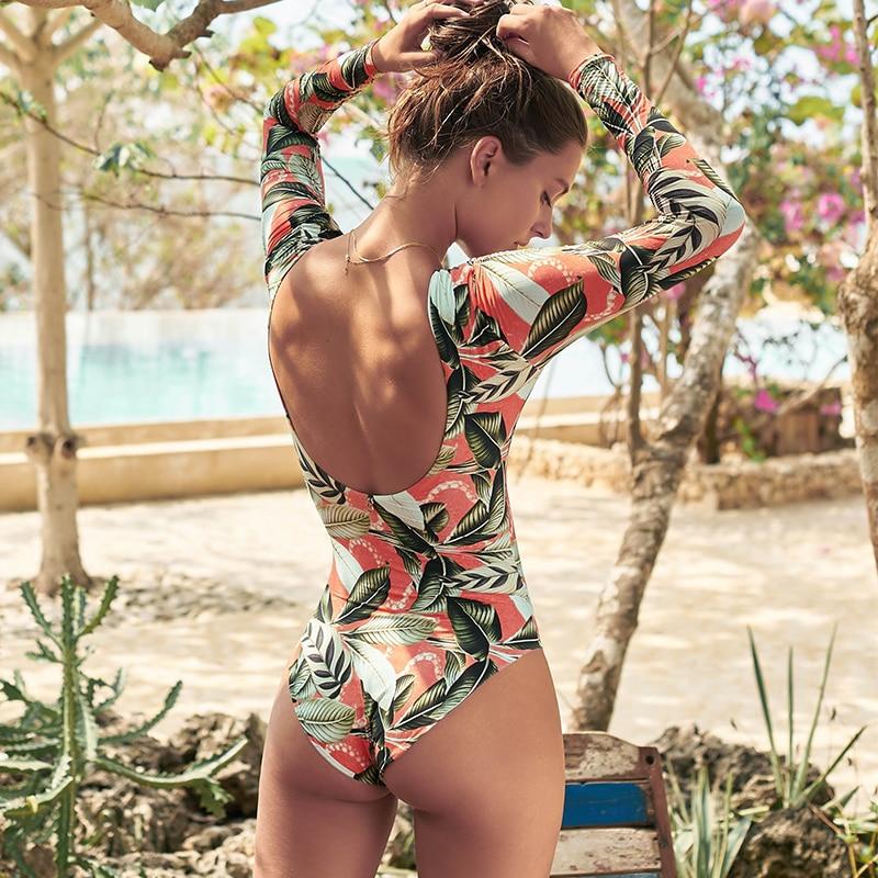 Bikini 2020 Surfing Swimsuit for Women Long Sleeve One Piece Bodysuit Leaves Print Sexy Bikini Brasileño Summer Push Up Swimwear 1
