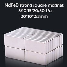 5/10/15/20/50Pcs 20x10x2/3mm Neodymium Magnet 20mm x 10mmx2 N35 NdFeB Block Super Powerful Strong Permanent Magnetic imanes Disc(China)