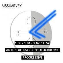 1.56 1.61 1.67 1.74 العدسات شبه الكرومية بدون إطار أضواء تقدمية مضادة للأشعة الزرقاء عدسات لوصفة طبية متعددة البؤر زجاج بصري