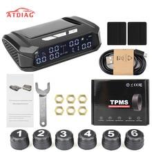 Sistema de Monitor Solar TPMS con alarma de presión de neumático de coche, pantalla Digital de temperatura de neumáticos, sistemas de alarma de seguridad de coche con 6 sensores