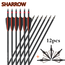 12pcs 30 Archery Fiberglass Arrows Spine 500 Glassfiber Arrow With  Replacement Arrowhead For Bow Outdoor Hunting Accessories