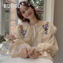 Модная блузка rugod с вышивкой Женская милая Свободная круглым