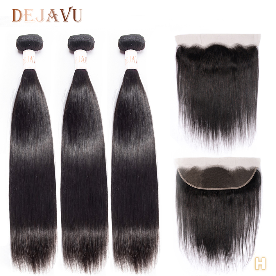 DEJAVU Straight Hair Bundles With Closure Non-Remy Human Hair 3 Bundles With 4*4 Lace Closure Malaysian Bundles With Frontal