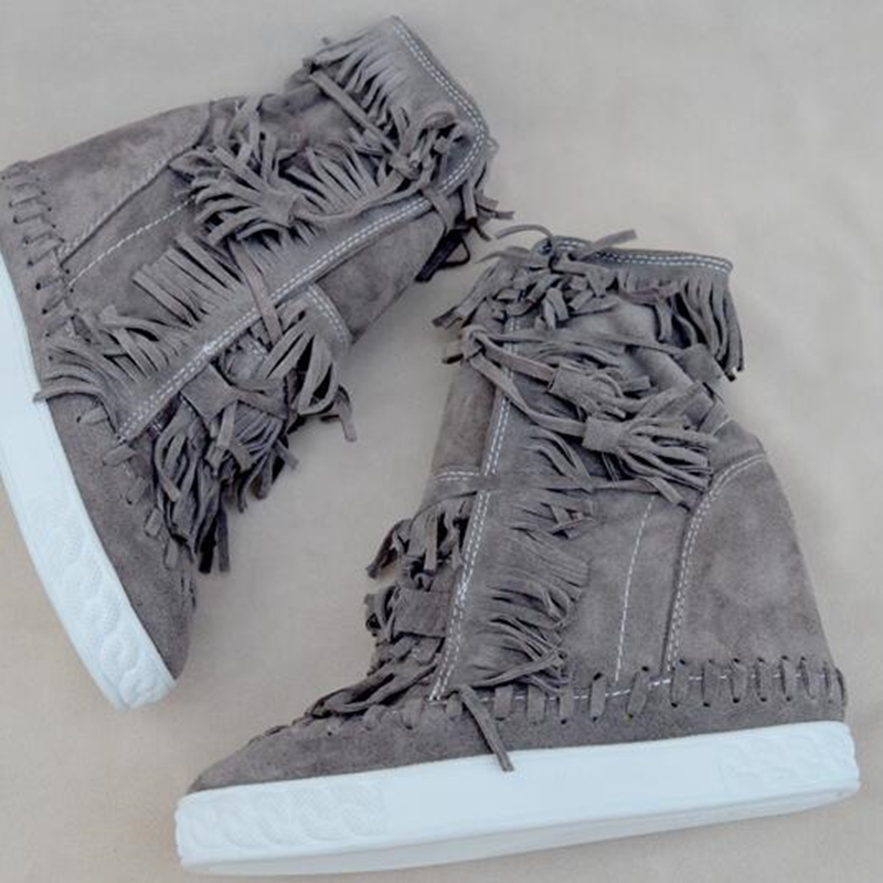 Camurça fring alto topo cunhas mulher sapatos dedo do pé redondo altura crescente rendas até borla botas tornozelo botas casuais senhoras tamanho grande - 4