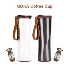 Original KissKissFish MOKA สมาร์ทถ้วยกาแฟแก้วท่องเที่ยวสแตนเลสกับ OLED Touch จอแสดงผลอุณหภูมิ 430ml แบบพกพา