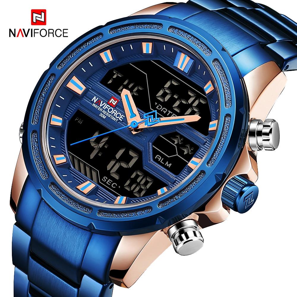 NAVIFORCE 9138 Luxury Blue Big Dial Quartz Clock With Stainless Steel Band Sport Stopwatch Digital Wristwatch Luminous Pointers
