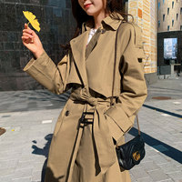 South Korea Waist Hugging Lace up Fold down Collar Solid Color Loose Fit Slimming Double Breasted Long Sleeve Trench Coat