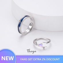 Thaya Falling Love Adjustable Couple Rings 925 Silver Chromatic Rings For Women Engagement Gift thaya facing the sea rings blue zirconia rings 925 silver jewelry for women lover wedding gift