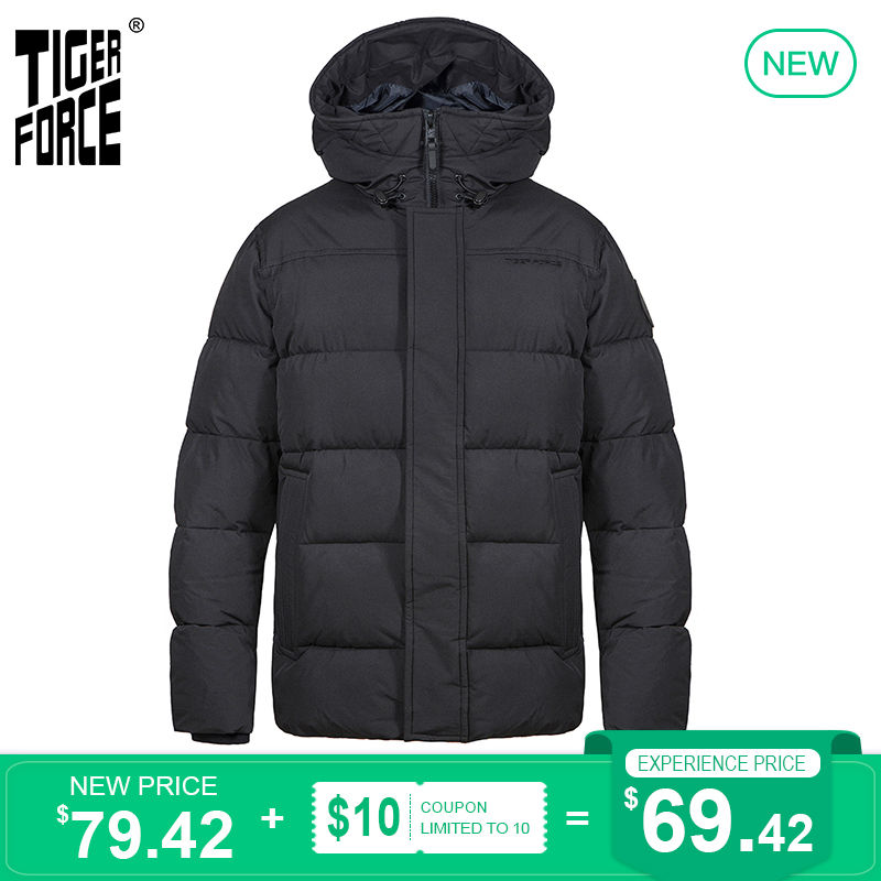 TIGER FORCE 2020 NEW Men's winter jacket Mid-length Hooded Business Casual black Thicken markers man Parka Overcoat 70750