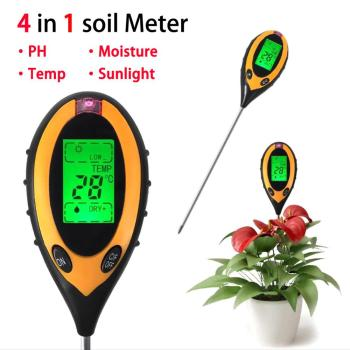 цена на 4 In 1 Digital PH Meter Soil Moisture Monitor Temperature Sunlight Tester For Gardening Plants Farming With Black light