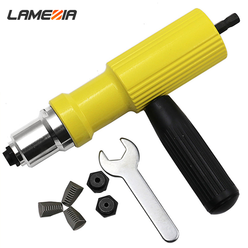 LAMEZIA Electricity Pull Rivet Conversion Nut Insert Riveting Adapter Gun Set Hand Drill Riveter Nail Power Tool Accessory
