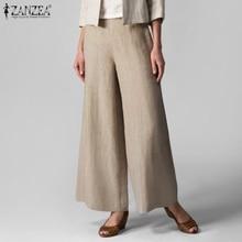 Casual Trousers Leg-Pants Palazzo Pantalon Elastic Wide Plus-Size Solid Women's Elegant