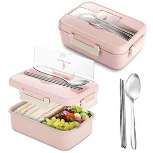 Image 2 - Zamknięte pudełko na Lunch kuchenka mikrofalowa słoma pszeniczna Bento dla dorosłych pojemnik do przechowywania żywności dla dzieci Bpa bezpłatny styl japoński obiad szkolny