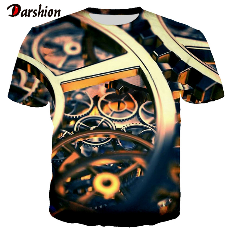 Men 's T-shirt Casual Loose Boy's Top Realistic Printed Car Parts T-shirt Short Sleeve Summer Fashion Clothes For Male