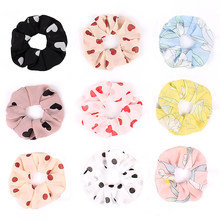 Fashion Chiffon Heart Print Hair Tie Girls Cute Bobble Solid Color Elastic Headband Rope Women Sweet Ponytail Holder Hair Ring(China)