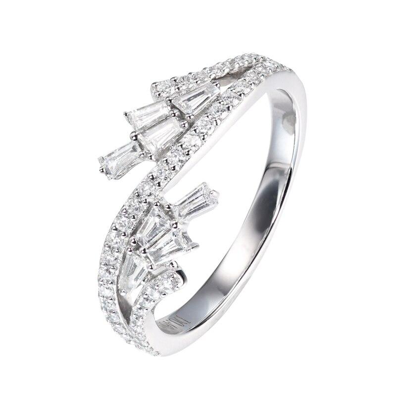 EDI Flower Diamond Ring AU585 14k Solid White Gold 0.46ctw Carat Real Natural Diamond Wedding Ring Professional Women OL Ring