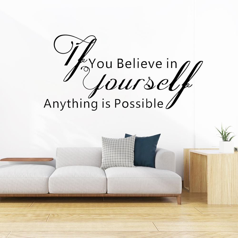 If You Believe in yourself English Letter Wall Stickers,For Home Living room Bedroom Decoration Wall Decal Text DIY wallpaper
