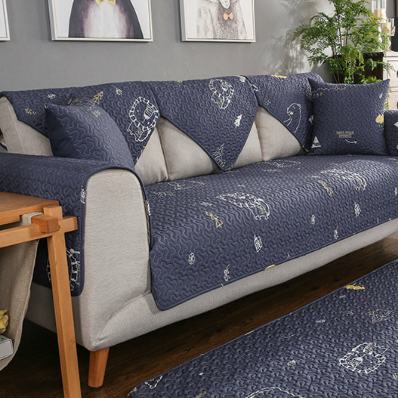 US $8.68 40% OFF|non slip couch covers modern navy blue sofa slipcovers  cartoon pattern sofa towel mat cotton furniture covers for sofa TS011-in  Sofa ...