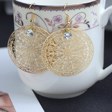 Vintage Boho Ethnic Dangle Bow Round Long Drop Geometric Earring Female Fashion Jewelry Hanging Wedding Earrings for Brides