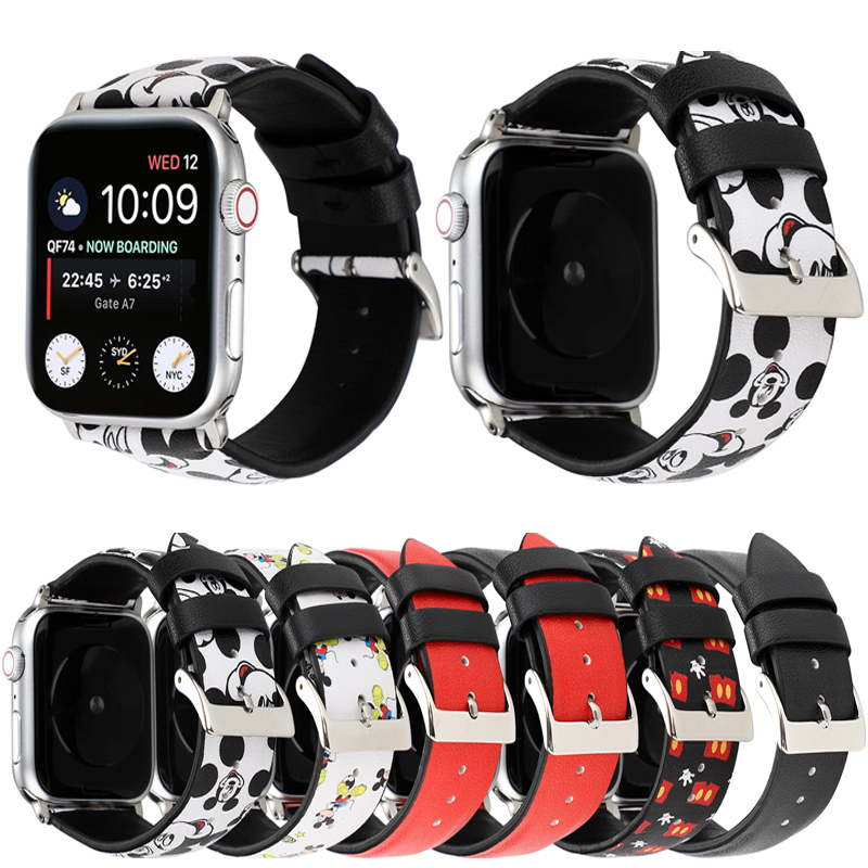 Cute Cartoon Leather Band For Apple Watch Band 40mm 44mm Mickey Mouse Wristband Bracelet Strap For IWatch Series 4 3 2 1 38/42mm