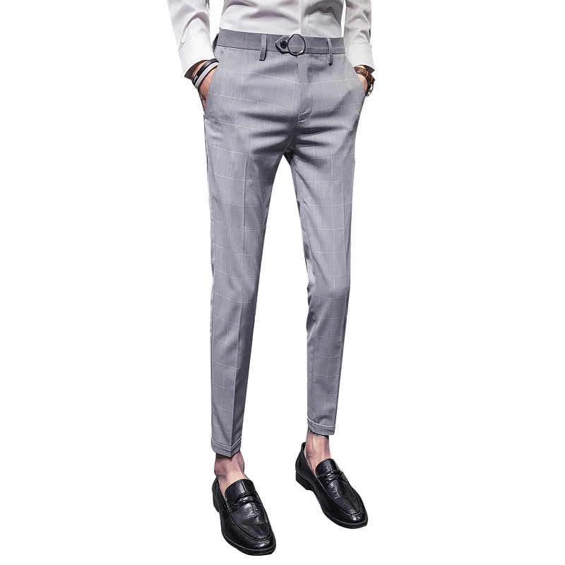 Office Pants Mens Dress Suit Pants Slim Fit Business casual Male Formal Lattice British style Wild Trousers Gentleman