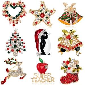 JUJIE Christmas Brooch Series For Women Men Brooch Pin Deer Shoes Christmas Tree Bells Jewelry Wholesale/Dropshipping