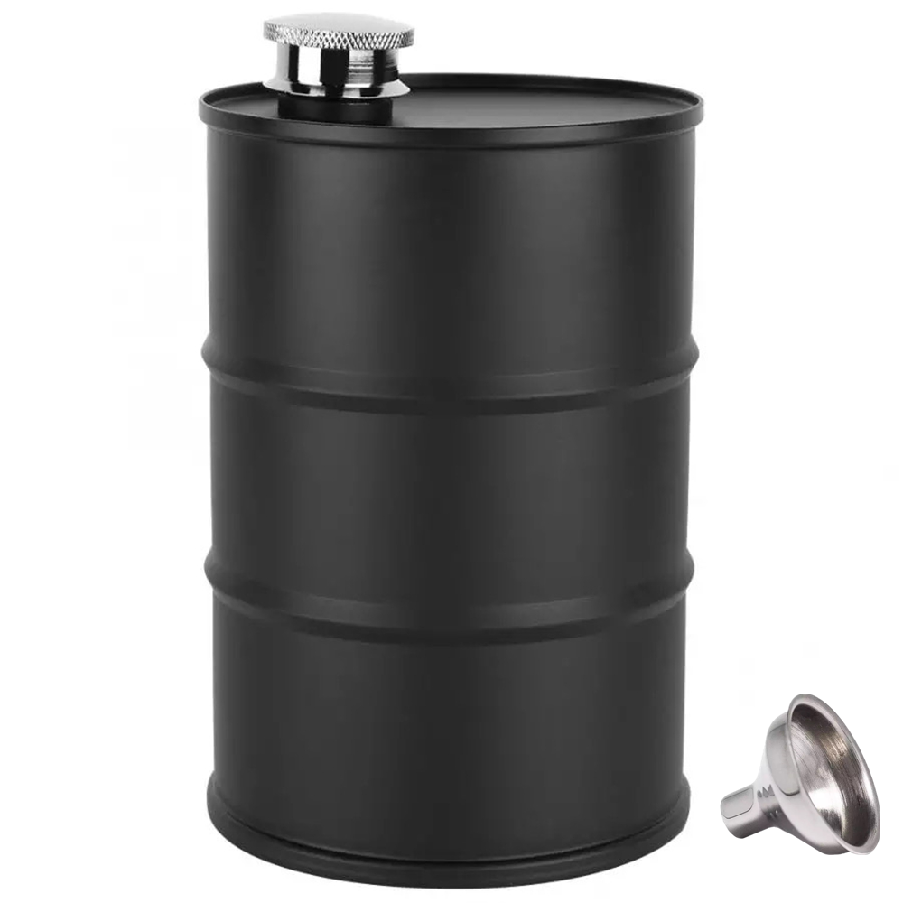 18 oz Hip Flask 500ml Black Oil Drum Shape Whisky Flagon Outdoor Travel Portable Vodka Russia Style Alcohol Wine Pot Men's Gift