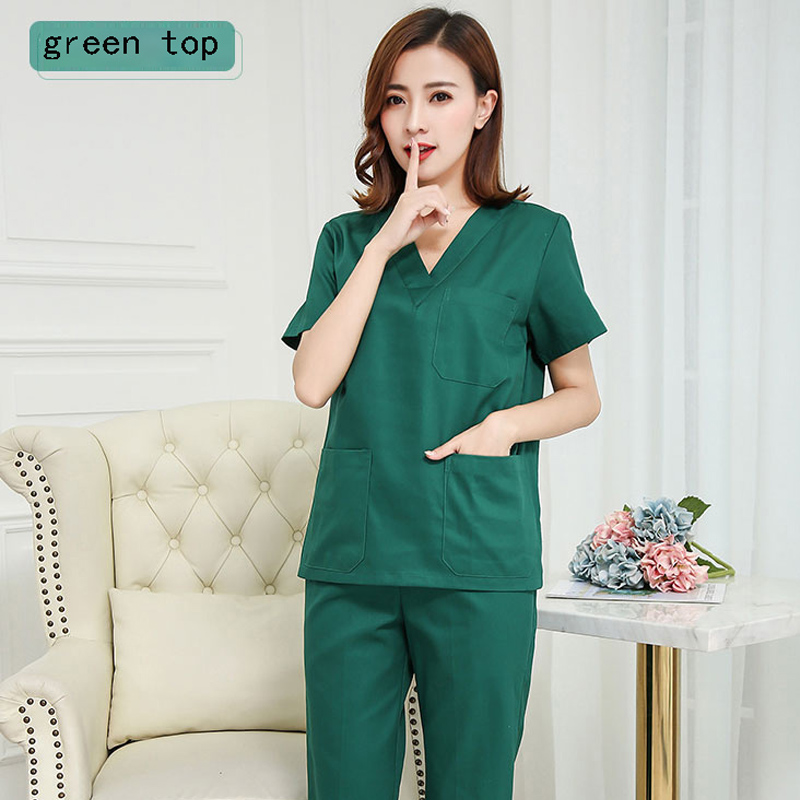 Short Sleeve Scrub Top For Women Pure Cotton Medical Uniforms Classic V-neck Doctor Nurse Pet Doctor Work Wear  ( Just A Top)